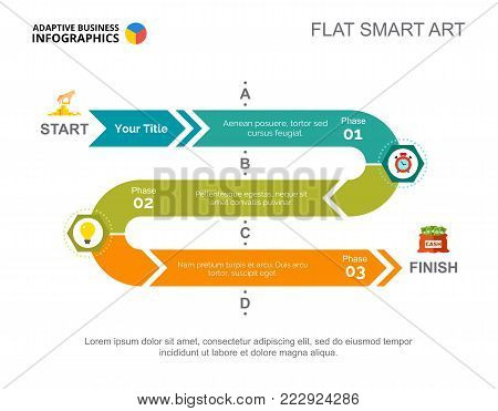 Three phases process chart slide template. Business data. Workflow, startup, design. Creative concept for infographic, project. Can be used for topics like banking, planning, finance.