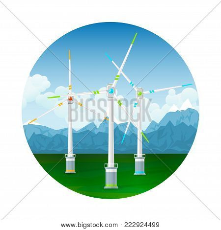 Icon Horizontal Axis Wind Turbines on a Background of Mountains, Modern Low-Wind Turbine,  Illustration