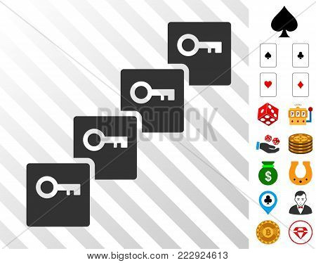 Key Blockchain pictograph with bonus gamble icons. Vector illustration style is flat iconic symbols. Designed for casino software.
