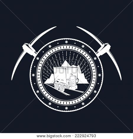 Vintage Emblem of the Mining Industry, Coal Mine Trolley against Mountains and Sunburst in a Gear with Two Crossed Pickaxes jy a Black Background, Label and Badge Mine Shaft,  Illustration