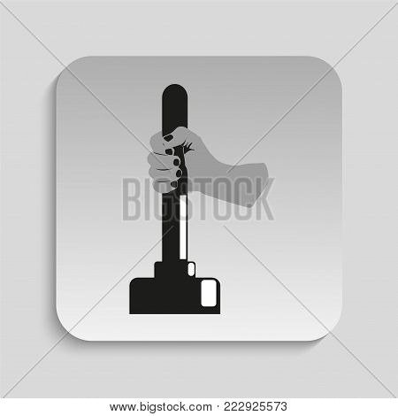Plunger in hand. Vector illustration. Black and white vector image of a gray background.
