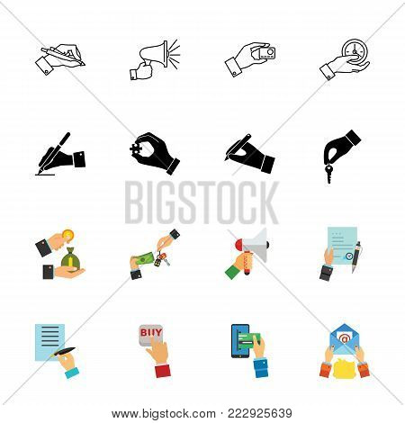Hands icon set. Can be used for topics like operation, business, paperwork, interaction