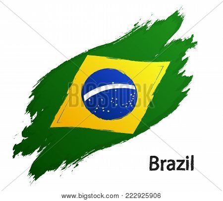 Flag of Brazil grunge style vector illustration isolated on white background