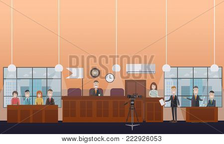 Vector set of legal trial scenes with judge, jury, lawyers questioning witness. Courtroom interior. Court hearing concept flat style design illustration.