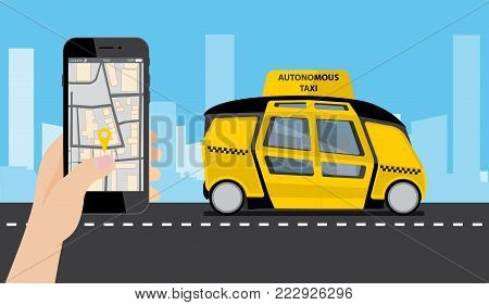 Hand with phone. On the device screen application for ordering a taxi. In the background, a self driving bus with a logo
