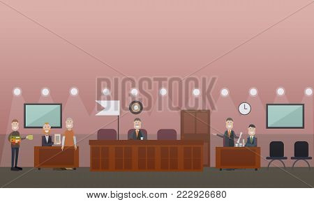 Vector illustration of attorney for defence providing the court with the proof of his client innocence. Courtroom interior. Court hearing concept flat style design illustration.