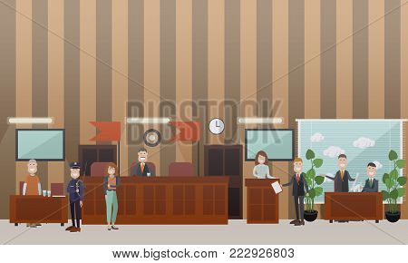 Vector set of legal trial scenes with judge, lawyers questioning witness, security guard standing next to defendant. Courtroom interior. Court hearing concept flat style design illustration.