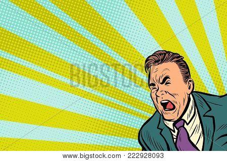 Pop art man shouting. Pop art retro vector illustration