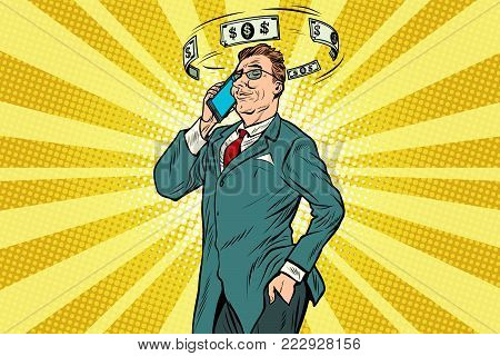 Businessman talking on the phone about finances. Pop art retro vector illustration