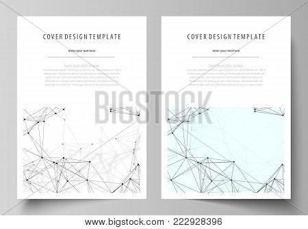 Business templates for brochure, magazine, flyer, booklet or annual report. Cover design template, easy editable vector, abstract flat layout in A4 size. Chemistry pattern, connecting lines and dots, molecule structure on white, geometric graphic backgrou