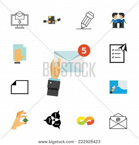 Mail icon set.Can be used for topics like correspondence, communication, business, letter