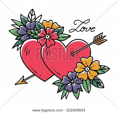 Tattoo heart with gold arrow. Two hearts pierced by arrow with flowers. Love. Old school tattoo art. Illustration, sticker for Valentines Day.