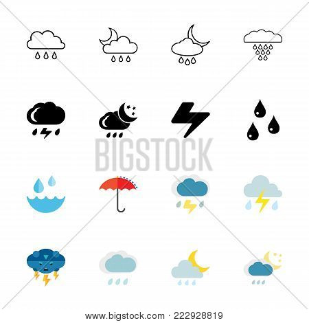 Rain icon set. Can be used for topics like weather, climate, precipitation, thunderstorm