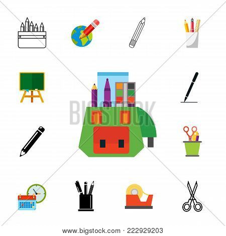 Stationary icon set.Can be used for topics like education, school, drawing, studying