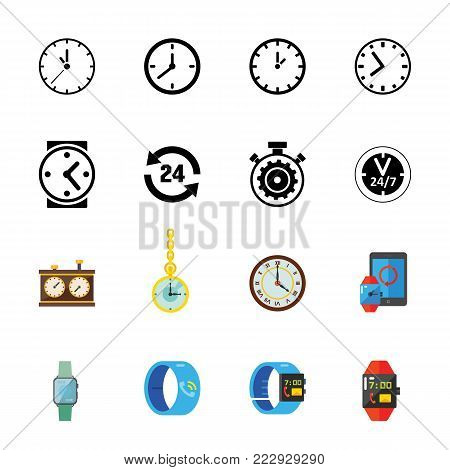Time icon set. Can be used for topics like time management, urgency, opining hours, dial