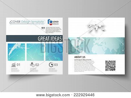 The minimalistic vector illustration of the editable layout of two square format covers design templates for brochure, flyer, booklet. Chemistry pattern, molecule structure, geometric design background.