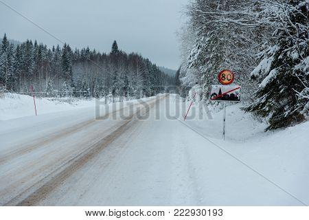 traffic sign with 80 kilometer per hour in varmland sweden