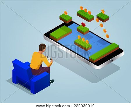 Arcade game world concept. Video game screen and gamer person gaming online with console controller android phone or tablet. Vector isometric illustration.