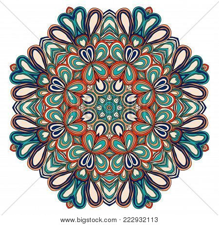 Round symmetrical pattern in blue, red, white and bue colors. Mandala. Kaleidoscopic design. Cinco de mayo