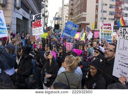 Los Angeles, California - January 20, 2018.  Women's March in the streets of Los Angeles.