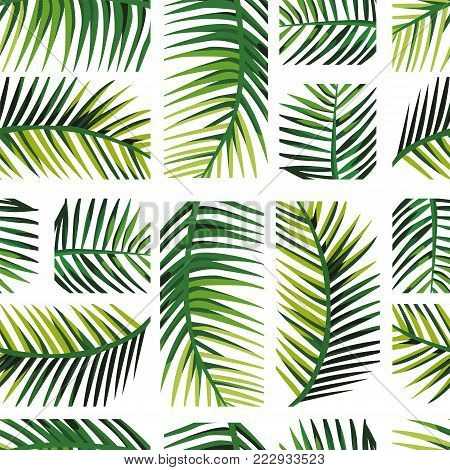 Geometric arrangement palm leaves. Exotic layout disposition green jungle Seamless vector pattern art wallpaper on the white background