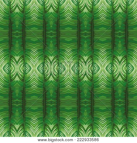 Futuristic reflection mirror green leaves background vector art seamless pattern beach wallpaper