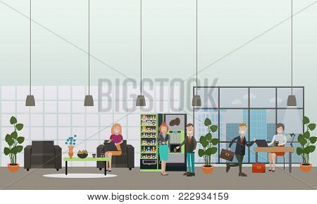 Vector illustration of modern workspace, hallway interior, employees working on laptop while sitting at desk and in armchair, taking coffee break. Office life concept, flat style design.