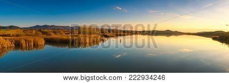 Tuscany, Santa Luce lake panorama on sunset, Pisa, Italy Europe