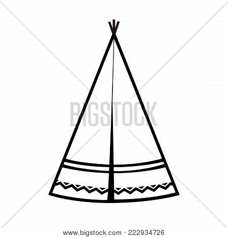 Wigwam icon. Indian teepee or tipi. Vector illustration. Black and white