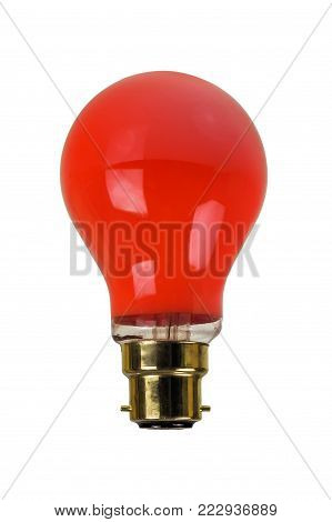 Old darkroom red light bulb isolated over white