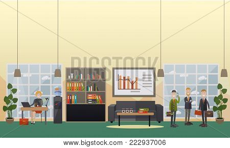 Vector illustration of employees and modern workspace interior with furniture, computer equipment and office supplies. Office life concept, flat style design.