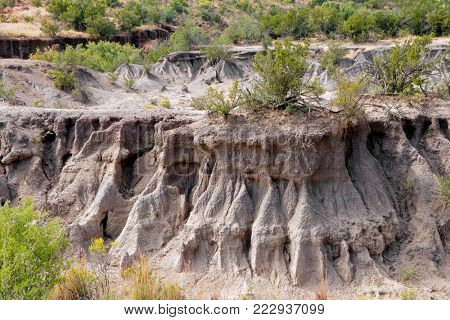 Example of severe soil erosion in an arid region of South Africa