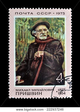SOVIET UNION - CIRCA 1973 : Cancelled postage stamp printed by Soviet Union, that shows painting by Prishvin.