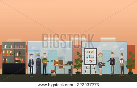 Vector illustration of business people and modern workspace interior with furniture, computer equipment and office supplies. Office life concept, flat style design.