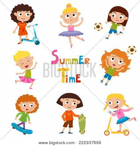 Vector set of summer child's outdoor activities isolated on white background. Happy childhood. Pretty cartoon girls skating, kicking ball, dancing and ride kick scooter.