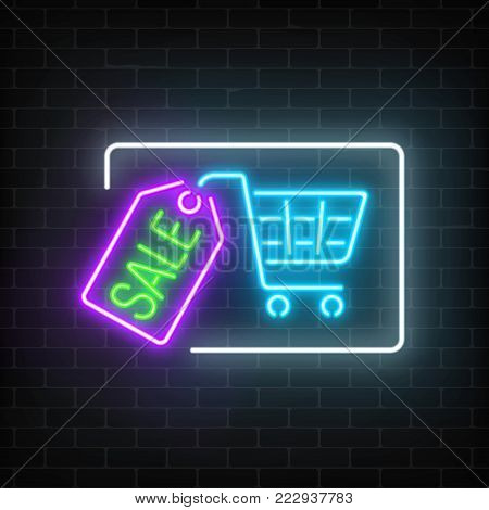 Neon glowing sale sign with shopping cart and tag on a dark brick wall background. Luminous advertising signboard. Big season discount neon banner. Vector illustration.