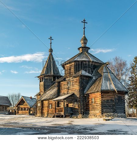 Traditional Russian wooden church of the Resurrection from village of Patakino. The monument of Russian wooden architecture of the late XVIII century. Golden Ring Of Russia. Suzdal. Russia.