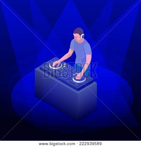 Young hipster DJ mixing music on the turntables. DJ playing and mixing music on the deck at a party. Vector flat design illustration