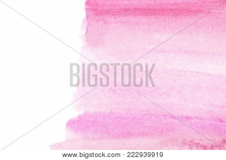 Red and pink Watercolor background. Hand Painted Spot on a white. Watercolor texture with brush strokes.