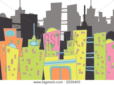 fun retro cityscape (vector) - cartoon illustration poster