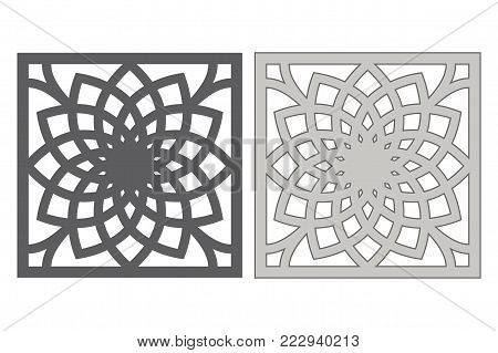 Template for cutting. Geometric flower pattern. Laser cut. Ratio 1:1. Vector illustration.