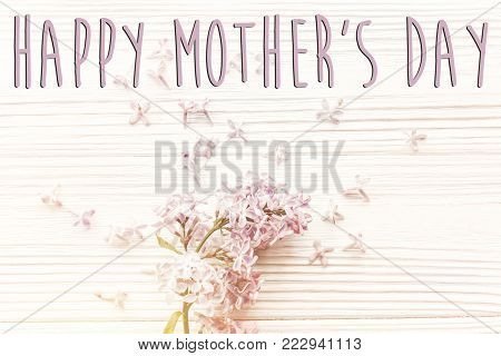 Happy Mother's Day Text Sign, Simple Greeting Card. Spring Flat Lay With Tenderl Lilac Flowers In So