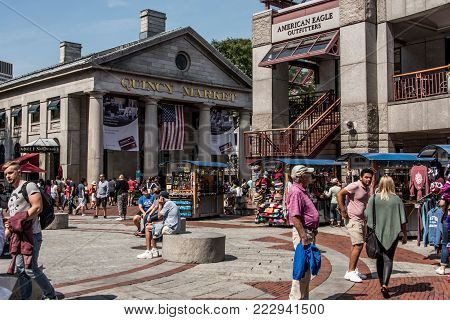 BOSTON UNITED STATES 05.09.2017 people at outdoor Faneuil Shopping Hall Quincy Market Government Center historic city