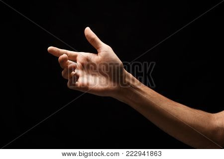 Male hand with virtual smartphone isolated on white background. Man holding card, phone or other, void, copy space