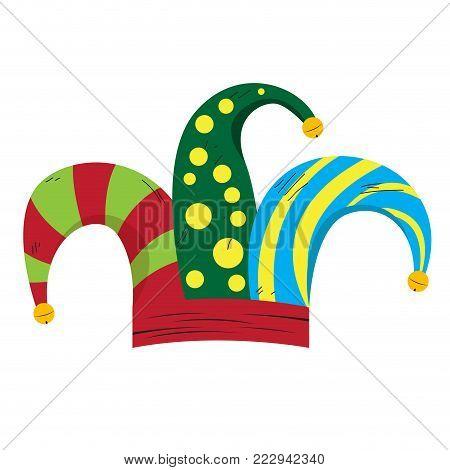 Harlequin hat image april fool vector illustration design poster