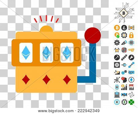 Ethereum One-Armed Bandit pictograph with bonus bitcoin mining and blockchain clip art. Vector illustration style is flat iconic symbols. Designed for cryptocurrency websites.