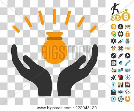 Money Bag Win Hands icon with bonus bitcoin mining and blockchain pictograms. Vector illustration style is flat iconic symbols. Designed for cryptocurrency apps.