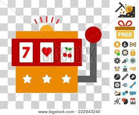 One-Armed Bandit pictograph with bonus bitcoin mining and blockchain pictograms. Vector illustration style is flat iconic symbols. Designed for crypto currency ui toolbars.