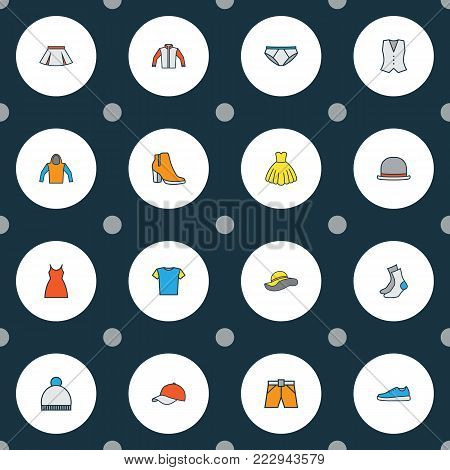 Dress icons colored line set with beanie, evening gown, vest and other panties elements. Isolated vector illustration dress icons.