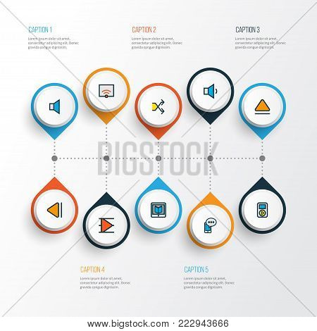 Music icons colored line set with volume down, previous, top and other signal elements. Isolated vector illustration music icons.